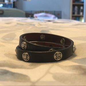 Brown Leather Double-Wrap Stella & Dot Bracelet